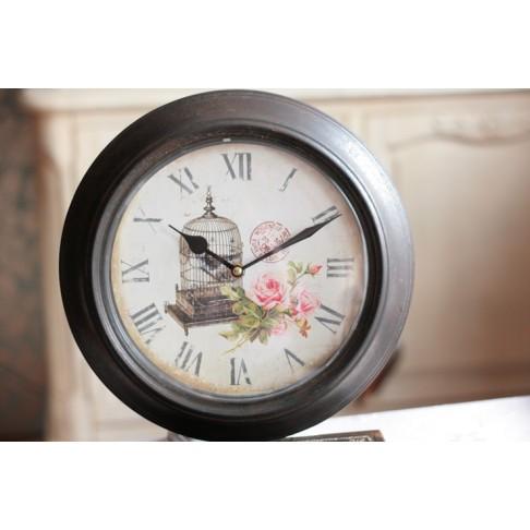 Zegar metalowy - z Klatką dla ptaszka -
