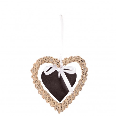 Wiklinowe serce natural 15 z tabliczką