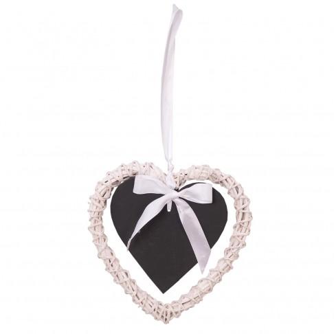 Wiklinowe serce białe 20 z czarną tabliczką