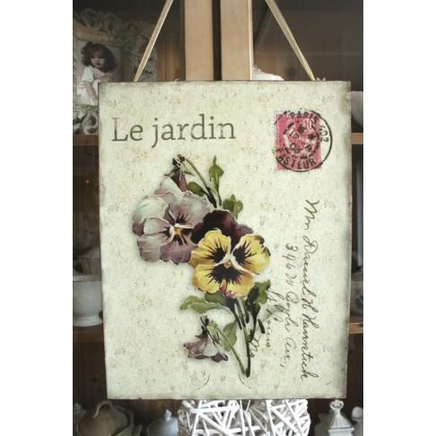 Tabliczka Le Jardin - Bratki