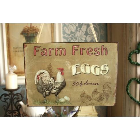 Tabliczka Farm Eggs beż