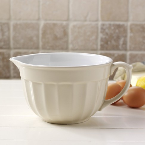 Duża miska z dzióbkiem i miarką Cream