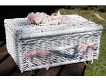 Kuferek ślubny na życzenia, koperty i telegramy WHITE