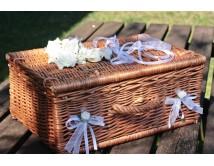 Kuferek ślubny na życzenia, koperty i telegramy Natural W
