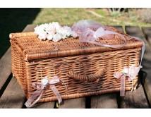 Kuferek ślubny na życzenia, koperty i telegramy Natural R