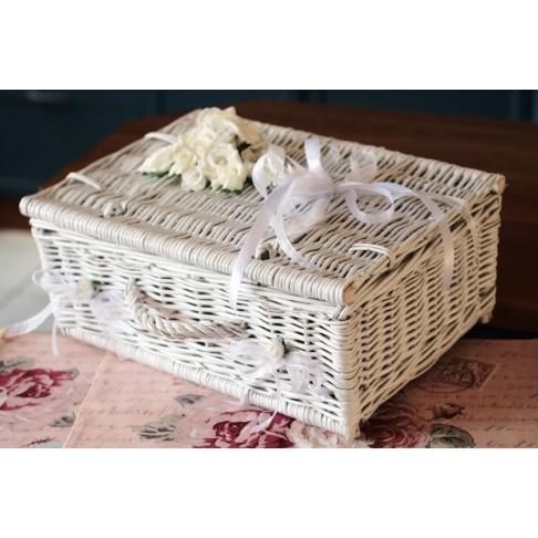 Kuferek ślubny na życzenia, koperty i telegramy WHITE 2