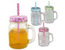 Zestaw 4 kubków - słoików do napojów 400 ml
