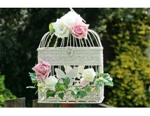 Klatka z kwiatową dekoracją CREAM ROSE