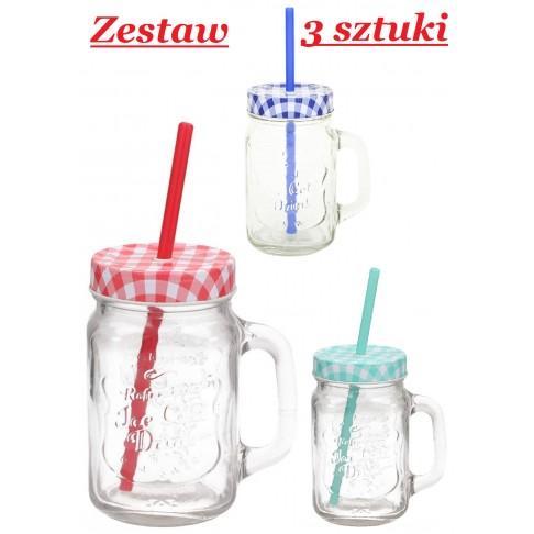 Zestaw 3 kubków - słoików do napojów 400 ml
