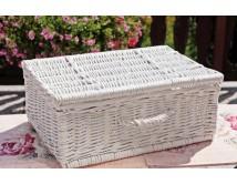 Kufer wiklinowy biały - walizka - kosz piknikowy