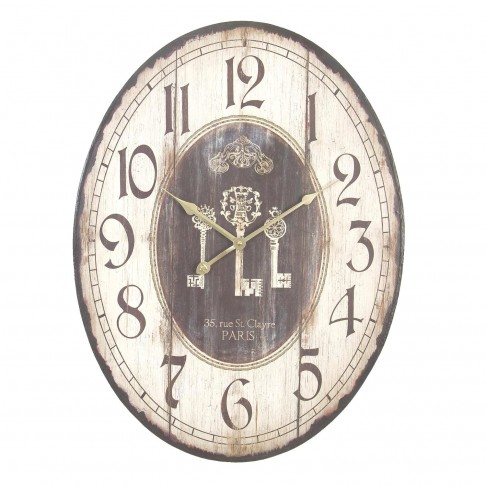 Zegar owalny z kluczami