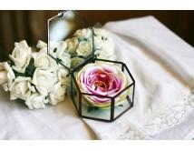 Szklana szkatułka na obrączki ślubne - Hexagonal