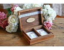 Pudełko na obrączki ślubne z koronką - PERSONALIZACJA