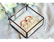 Szklana szkatułka na obrączki ślubne